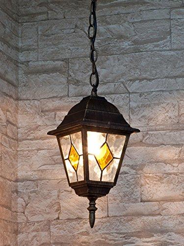 Edle Hängeleuchte Deckenlampe in antik-gold Tiffany-Glas Hoflampe Außenleuchte Gartenleuchte IP43