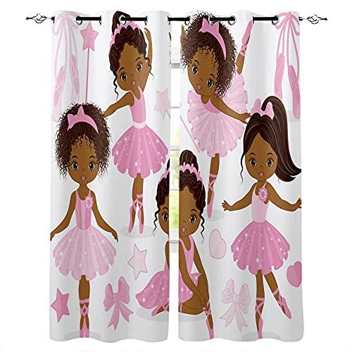 QGWMCD Verdunkelungsvorhang Blickdichte Vorhänge Weißes rosa Ballerina-Mädchen Verdunklungsvorhänge Thermovorhang lichtdicht für Wohnzimmer Schlafzimmer Küche 140x250cm x2
