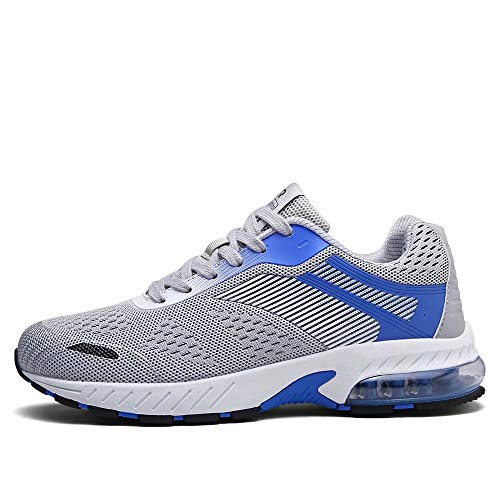 FUSHITON Laufschuhe Sportschuhe Damen Turnschuhe Herren Sneakers Running Shoes Air Sport Atmungsaktiv Straßenlaufschuhe,37 EU,Grau-e