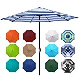Blissun 9' Outdoor Aluminum Patio Umbrella, Striped Patio Umbrella, Market Striped Umbrella with...
