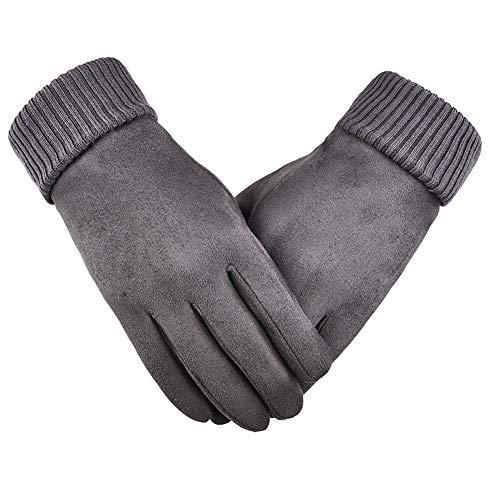 ANBET Männer Frauen Winter Wildleder Handschuhe Dick Warm/Touchscreen/Winddicht/rutschfest Vollfinger für Handschuhe Laufen, Fahren, Radfahren