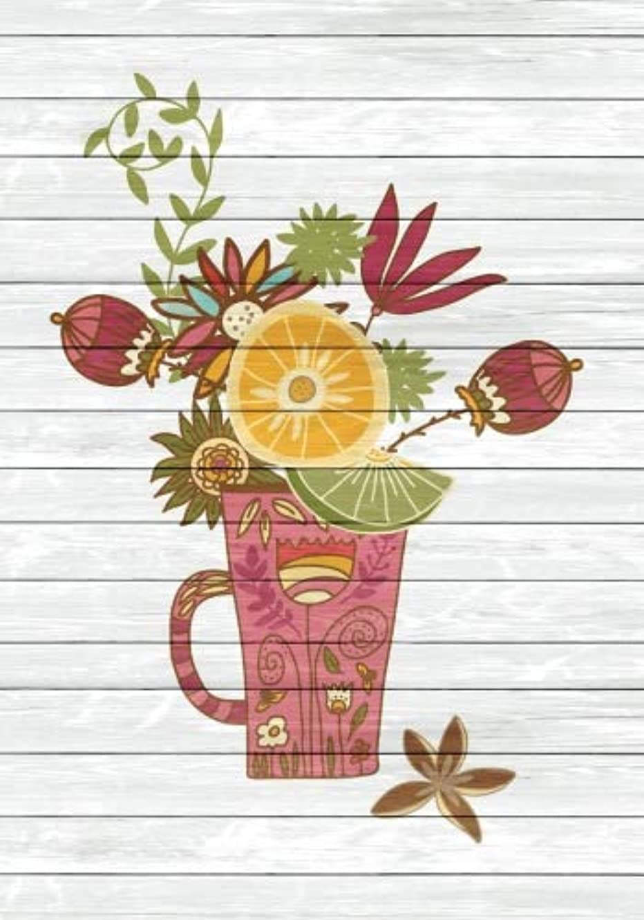 ストレスファンタジー大統領Tea Time Creative Journal 4: (7 x 10 Dot Grid) Blank Journal Notebook Organizer Planner Sketchbook Gratitude Diary Tea Cup Lover Flowers Spices Strainer Fruit Whimsical