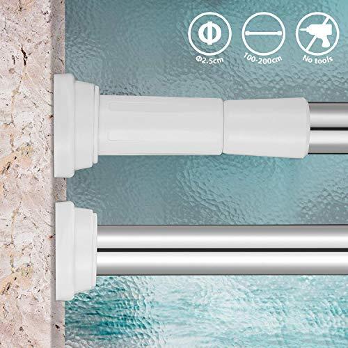KINLO Fensterbeschläge Duschvorhangstange 110-200CM Duschvorhang-Spannstange Edelstahl starker Halt ohne Bohren verstellbare Teleskopstange auch als Kleiderstange in Schrank Badezimmer
