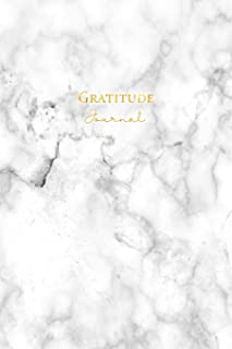 Gratitude Journal: Daily Gratitude Journal 52 Week Diary for a Happier You in One Minute a Day White Gold Marble