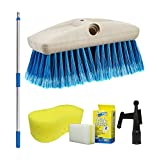 Star brite 040092-1FF Boat Brush 3'-6' Handle Combo with 8' Medium Fiber Brush, Blue