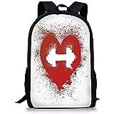 Hui-Shop Mochilas Escolares Fitness, Icono de corazón Rojo con Salpicaduras de Manchas y diseño de Amor artístico Grunge con Mancuernas, Rojo y Blanco para niños niñas