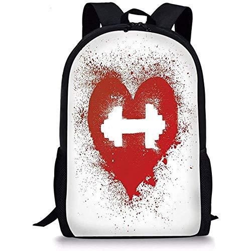 Hui-Shop Schultaschen Fitness, Red Heart Icon mit Flecken Spritzer und Hantel Grunge Artistic Love Design, Rot und Weiß für Jungen Mädchen