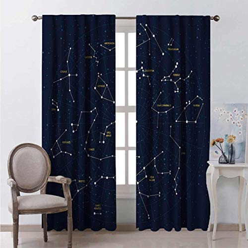 Constellation Heat Insulation Curtain Sky Map Andromeda Lacerta Cygnus Lyra Hercules Draco Bootes Lynx for Living Room or Bedroom W42 x L63 Inch Dark Blue Yellow White