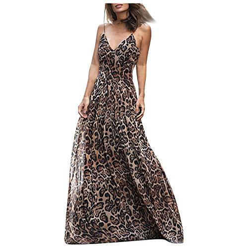 Verano Vestido Vintage de Gasa Talla Extra Cuello en V, Sexy Elegante Maxi Vestido Largo Vestido Mujer Bohemio Largo Verano Playa Fiesta Casual Vestido de Cóctel de Noche
