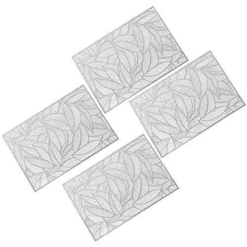 Globaldream Manteles Rectángulo Ahuecados, 4 Piezas Metálicos Antideslizante Mantel Individual Coaster de Plástico PVC Almohadillas de Aislamiento Alfombrillas(Plata)