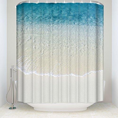 LALADecor Ocean Dusche Vorhang Vorhang Polyester-Sky Tropical Seascape Bild Badezimmer Dekoration-Dusche Blau 36 x 72 inch Clear Sea Water White Sand Beach
