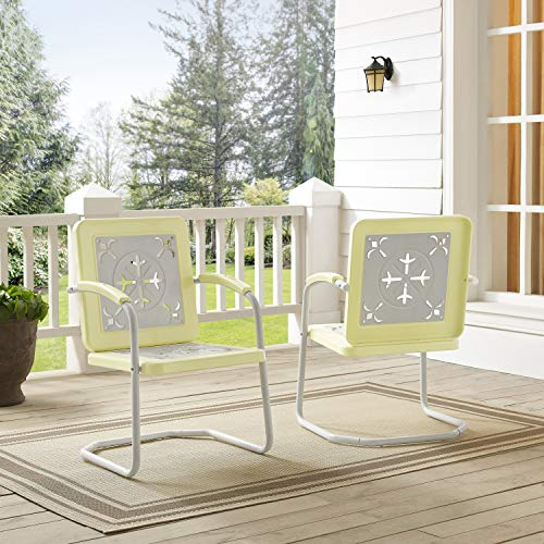 Crosley Furniture CO1026-YE Azalea Retro Metal Chairs (Set of 2), Yellow