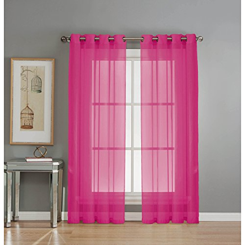 Window Elements Sheer Elegance Grommet 108 x 84 in. Curtain Panel Pair, Fuchsia