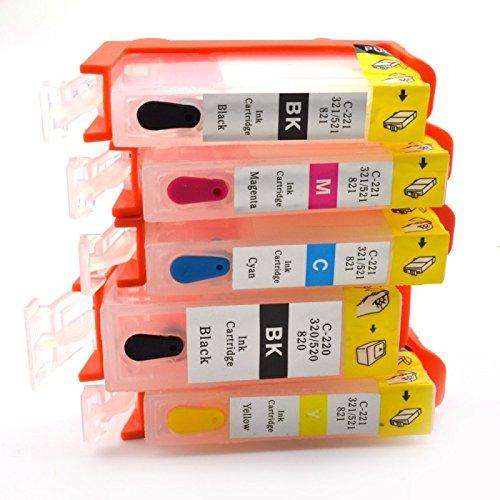 Set van 5 Lege navulbare inkt Cartridges PGI-520 CLI-521 voor Canon printers