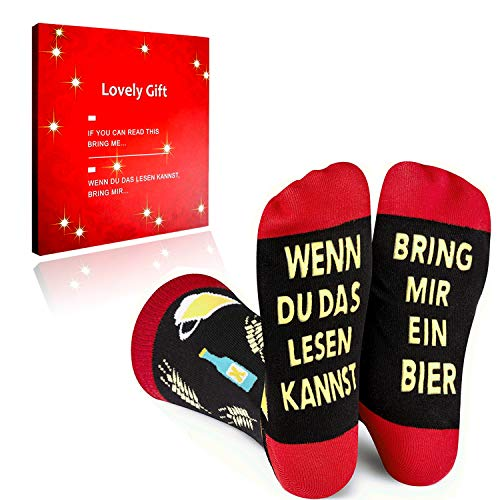 Yelinye Lustige Socken Geschenke für Männer Frauen, Witzige Geschenk für Weihnachten Füllung Adventskalender, Geburtstagsgeschenk | Wenn Du Das Lesen Kannst, Bring Mir