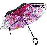 Elxf Paraguas invertido Fondo Inspirador del día de la Madre Paraguas inverso de Doble Capa para automóvil y Uso en Exteriores con protección UV a Prueba de Viento con