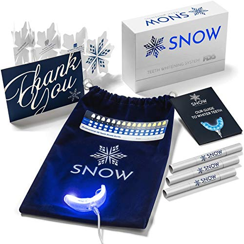 Snow Teeth Whitening Kit, All-in-One at-Home Easy to Use System for Whiter Teeth, Proprietary, Natural Formula, 5-Year Warranty, Results Guaranteed, No Sensitivity