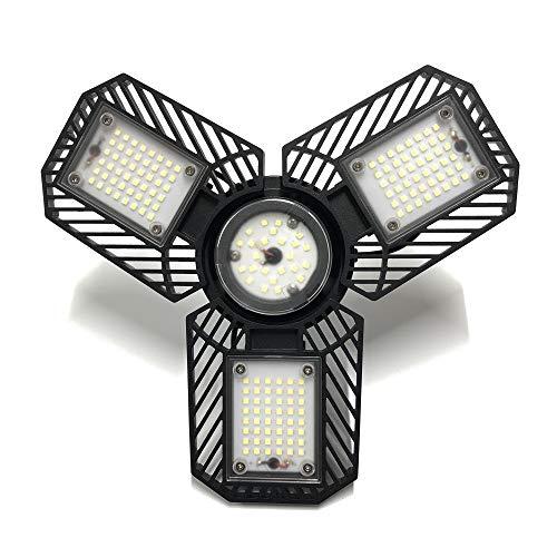 LED Garage Light, KQO 12800lm 80W Deformable LED Garage Ceiling Lights E26/E27 Three-Leaf LED Garage Light Tribright LED Adjustable Barn Light Working Light Bulb for Garage(NO Sensor)