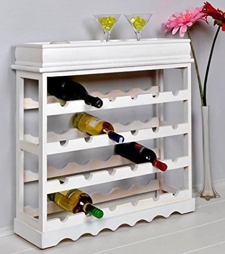Weinregal Weiß für 24 Flaschen Flaschenregal weißes Holz - 8
