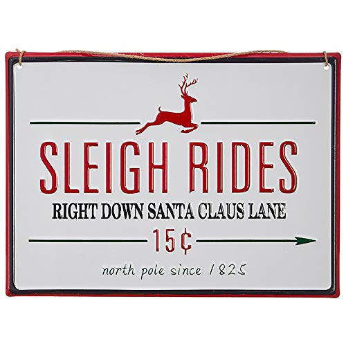 Sleigh Rides Right Down Santa Claus Lane Red 14 x 5 Metal Decorative Wall Sign