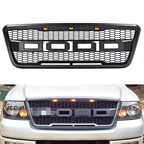 Matte Black Front Grill Hood Grille compatible with Ford F150 Raptor Style 2004-2008,for Replaceable Letters f&r Letters