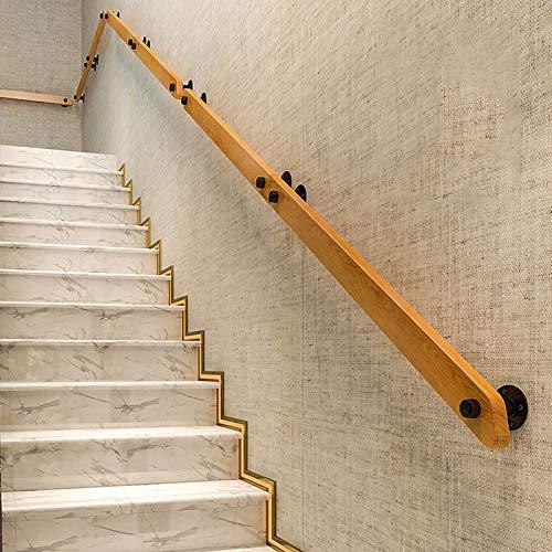 QFF Home Treppenhandläufe Rutschfestes Handlauf aus Holz, Anpassbarer Handlauf für Ältere Treppen für Dachböden im Innen- und Außenbereich