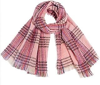 WUNONG-AU Keep Warm Shawl Autumn Winter Double-Faced Tassel Plaid Fashion Scarf Female Scarf (Color : Pink, Size : 185cm)