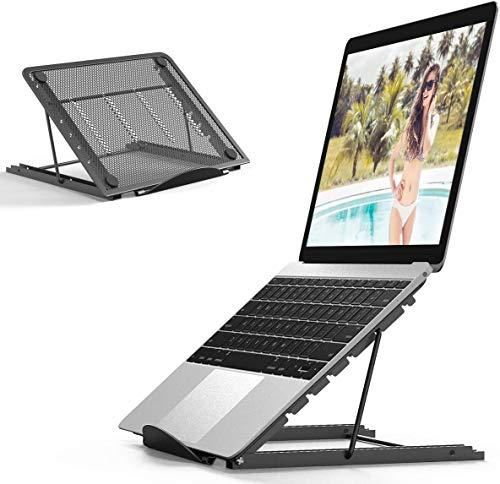 WENTS Notebookstandaard, verstelbare hoek, draagbaar, inklapbaar, van aluminium, geventileerd, voor MacBook/Pro/Air/iPad laptop/Huawei Matebook D/HP/andere 10-15,6 inch laptop tablet