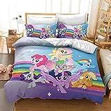 YOMOCO My Little Pony - Juego de funda nórdica y dos fundas de almohada, microfibra, impresión digital 3D (04,135 x 200 cm)