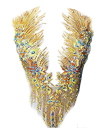 Parches de encaje con apliques de diamantes de imitación bordados en 3D, ideal para bricolaje, escote corpiño de boda, vestido de baile de graduación A2AB -  Dorado -  A