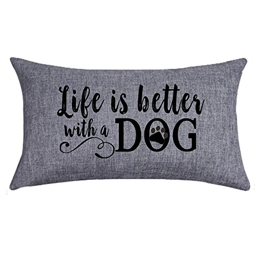 NIDITW Nice Gift with Inspirational Words Life is Better with A Dog Waist Lumbar Throw Pillow case Cushion Cover Pillowcase for Sofa Home Decorative Rectangle 12'X 20'