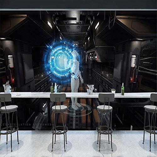 BXZGDJY zelfklevende muurschildering eenvoudige 3D Vr Science-Fiction-behang uitbreiding achtergrond wandmodel speelgoed hema ruimtebehang (B) 350 × (H) 256 cm | 7 Streifen