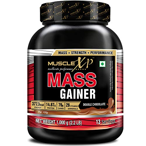 MuscleXP Mass Gainer - With 26 Vitamins and Minerals, Digestive Enzymes, Double Chocolate, 1kg (2.2 lb)