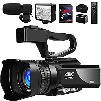 """Video Camera 4K Camcorder Vlogging Camera for YouTube IR Night Vision 48MP 30FPS 3"""" Touch Screen 30X Digital Zoom Camera Recorder with Microphone from SAULEOO"""