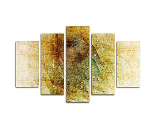 Abstracte foto's 5-delig (totale breedte 150 x hoogte 100cm) abstract 218 - Het verwurfstuk - kunstdruk grondverf op canvas klaar bespannen eendelig