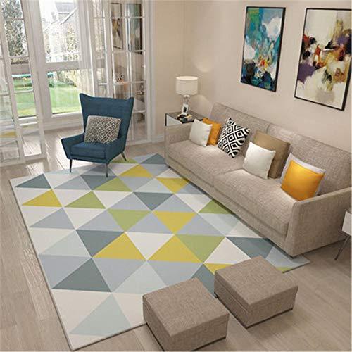 alfombras Lavables Infantiles Azul Alfombra de Sala de Estar de Estilo Moderno Alfombra de patrón de triángulo Azul Duradera Alfombra de Juego Bebe 120X160CM alfombras antiacaros 3ft 11.2''X5ft 3''