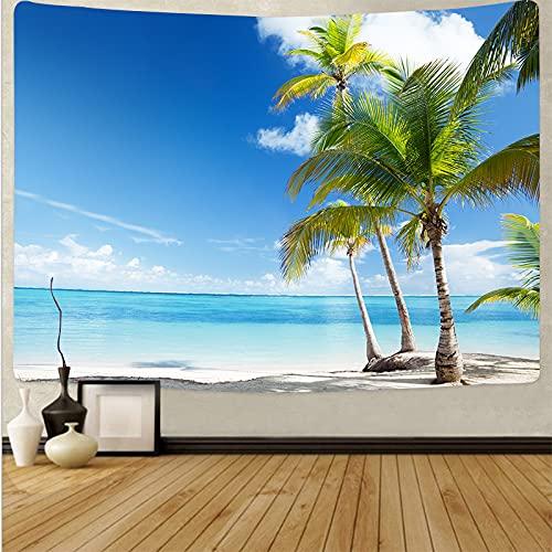 ydlcxst Tapiz Hippie Playa Árbol De Coco Estilo Boho Tapiz Colgante De Pared Hermoso Mar Puesta De Sol Arte Sala De Estar Decoración del Dormitorio 140X210Cm /3506
