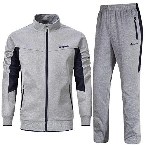 Rdruko Men's Tracksuit Athletic Full Zip Casual Sports Jogging Gym Sweatsuit(Grey,US XL)