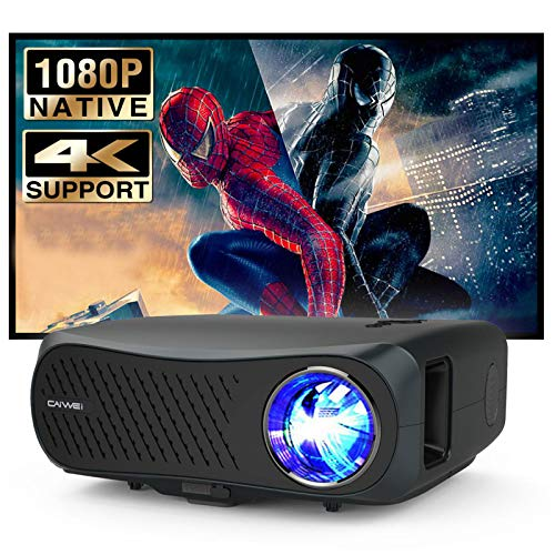 Full HD Projector Native 1080P 7200 Lux LED Video Projector Support 4k, Outdoor Movies Projector with 55,000 Hours LED Life, Zoom Function, Compatible with TV Stick, HDMI, USB, Smartphone, Laptop, PS4
