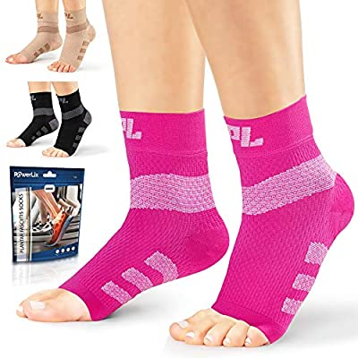 Powerlix Nano Socks for Neuropathy (Pair) for Women & Men, Ankle Brace Support, Plantar fasciitis socks, Toeless Compression Socks & Foot Sleeve for Arch and Heel Pain Relief, Diabetic & Circulation