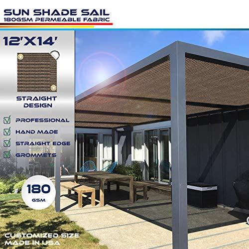 Windscreen4less Straight Edge Sun Shade Sail,Rectangle Outdoor Shade Cloth Pergola Cover UV Block Fabric 180GSM - Custom Size Brown 12' X 14'
