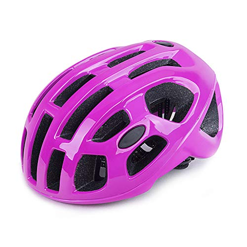 Casco De Ciclista, Bicicletas Cascos Mate Negro Unisex Casco De La Bici Montaña Trasera De La Bici del Camino Moldeado Integralmente Transpirable Montaña MTB Casco Ultraligero,Purple Pink