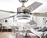 Led lámpara de techo de acero inoxidable, comedor dormitorio ventilador con una lámpara, hoja de vida minimalista moderno candelabro de ventilador,acero inoxidable control remoto