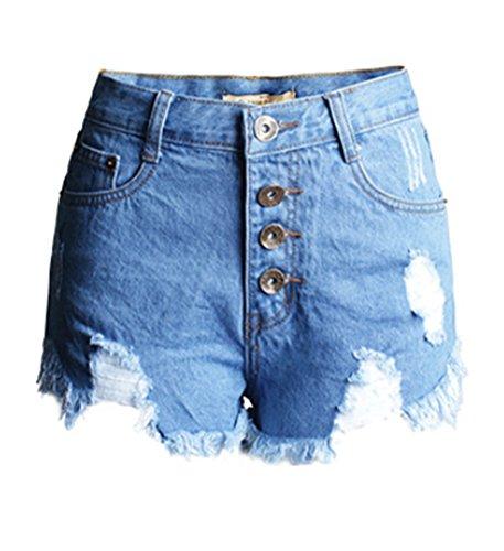 Blansdi Damen Sommer Boyfriend Modern High Waist Zerrissenes Lochjeans Shorts Hotpants Gewaschene Löcher Kurz Jeanshosen Retro Knöpfe Denim Hosen