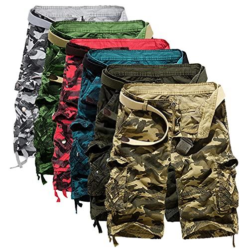 JIAYOUA Herren Vintage Cargo Hose Shorts Sommer Freizeit Sport Jogging Kurze Hosen Baumwolle Bermuda Shorts Outdoor Taschen Tooling Shorts Herren Shorts Sporthose Baggy Cargohose Streetwear