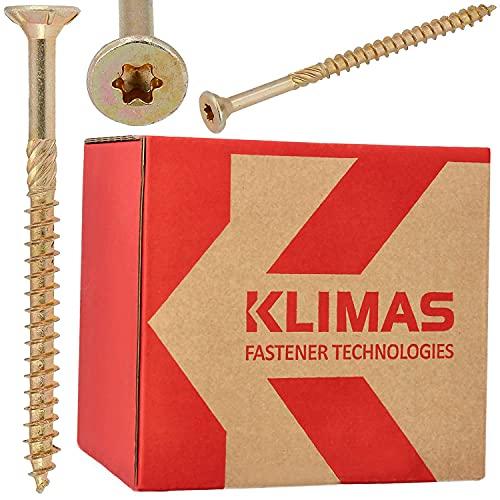 KLIMAS Holzschrauben Torx Spanplattenschrauben 4,5 x 80 mm 250 Stück | Senkkopfschrauben Terrasenschrauben Universalschrauben Dachkonstruktion Schrauben Set TX Gelb