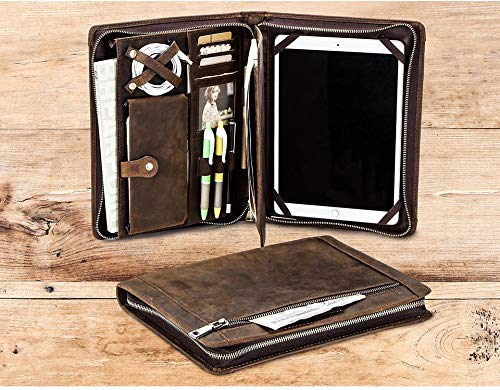 Handmade Vintage Leather Padfolio with Zipper Multi-Function Business Document Organizer Crazy Horse Leather Portfolio Case for iPad 9.7 10.5 11 Inch Gift for Men & Women (9.7/10.5/11 with Zipper)