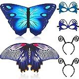 Gejoy 6 Piezas de Disfraces de Halloween Alas de la Mariposa con la Máscara de la Antena de la Venda de la Mariposa (Estilo 3)
