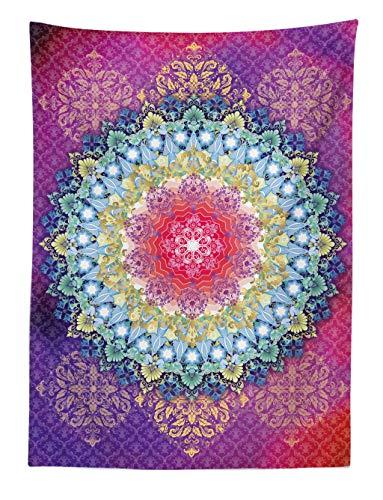 ABAKUHAUS Mandala Tapiz de Pared y Cubrecama Suave, Rosa y Púrpura Círculo Mágico Sueño Mundo Cuatro Elementos Paz Estampa, No se Desliza de la Cama, 110 x 150 cm, Mutlicolor