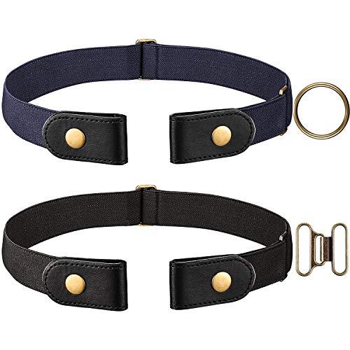 Yaomiao Cintura Elastica Nera e Blu Navy 2 Pezzi (Senza Fibbia) con Chiusura a Scatto in Ottone e un Paio di Fibbia in Ottone Marrone (Donna 46 CM)